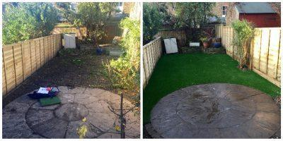 Top Dog Turf Artificial grass for dogs. London before and after
