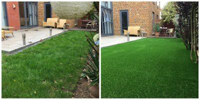 Top Dog Turf Artificial grass for dogs. Northampton before and after