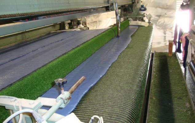 Latex backing on artificial grass